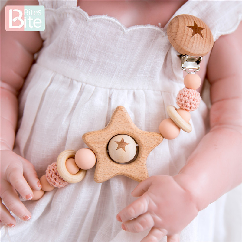 Bite Bites Pacifer Clip 1pc Baby Silicone Teether Beech Wood Dummy Clips Nipples Pacifier Clips Baby Feeding Soother Holder