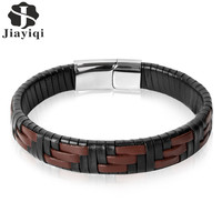 Jiayiqi 2017 Punk Men Jewelry Brown Braided Leather Bracelet Stainless Steel Magnetic Buckle Couple Bangles Wristband