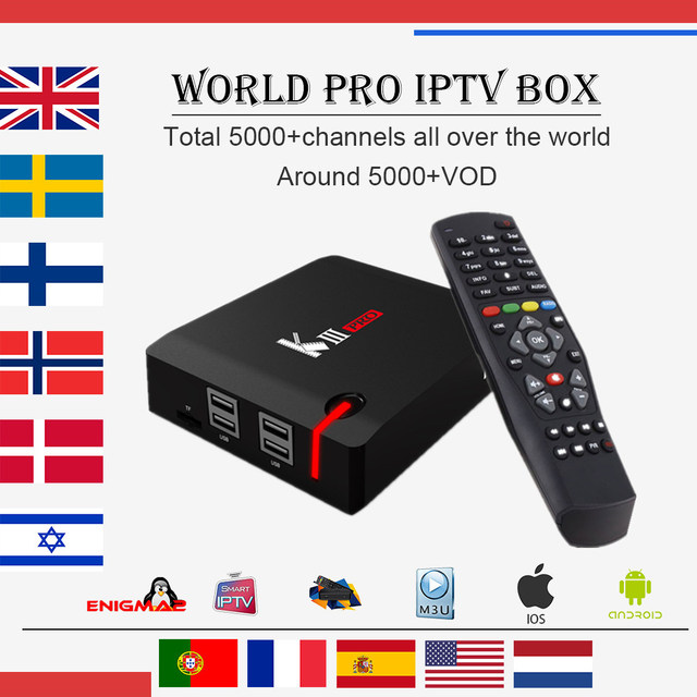 US $166 69 21% OFF|European IPTV MECOOL KIII PRO Android&DVB S2/T2 Set top  box 4700+channels Arabic France UK Italy iptv 1 year free smart tv box-in