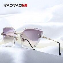 TAOTAOQI Frameless Cat Eye Sunglasses Women Vintage Brand Designer Luxury Female Sun Glasses Fashion 2018 Sexy Eyewear UV400