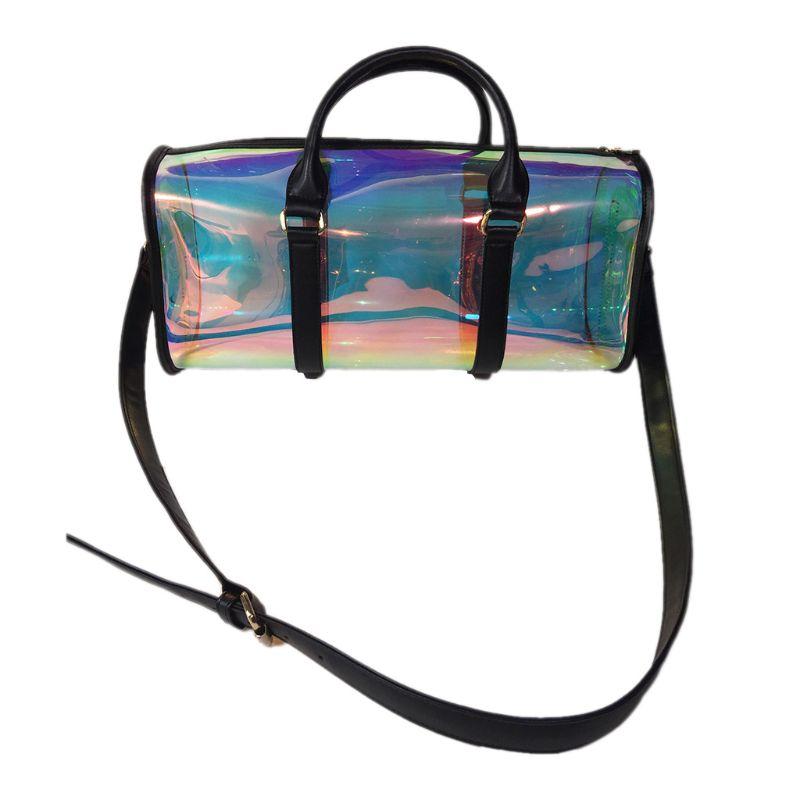 Fashion Travel Bag Women Large Capacity Portable PVC Shoulder Bag Holographic Weekend Luggage Tote