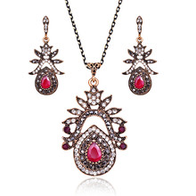 Statement Crystal Jewelry Sets For Women Antique Gold Color Full Rhinestone Big Water Drop Pendant Necklace And Earrings Set