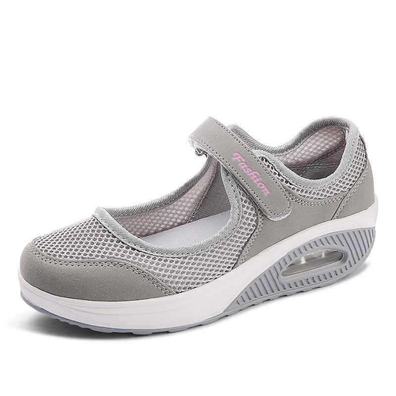 Lakeshi sapatos femininos 2020 moda verão sapatos de plataforma respirável malha sapatos casuais mulher mocassins senhoras barco