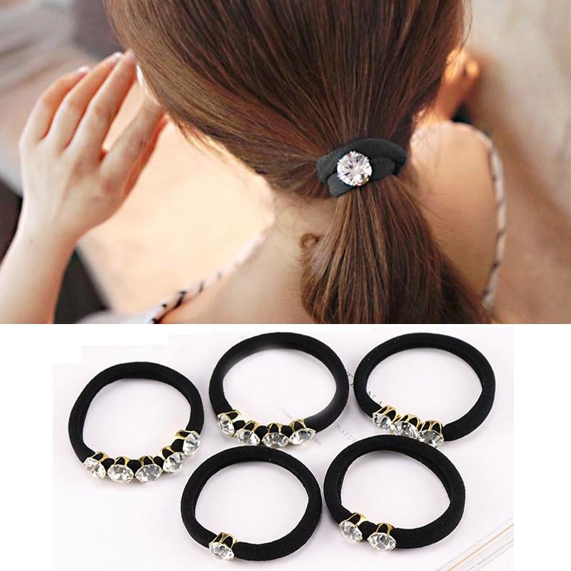 1PC Hot Rhinestones Women Korean Style Black Hair Rope Fashion Elastic Hair Bands Hair Accessories Gum Rubber Band