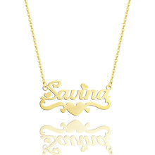 c88add51f3 Custom Heart Name Necklaces Women Gold Chains Necklace Personalized Jewerly  Customized Silver Colar Feminino Com Pingente Bijoux