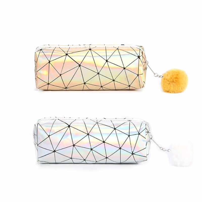 Holographic Iridescent Laser Pencil Case for Girls Boys PU School Cute Pencil Box Hairball Pencil Bag School Supplies Stationery