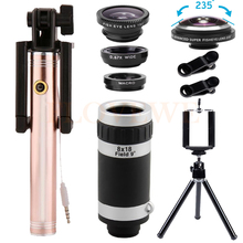 Big discount 8X Telephoto Zoom Lentes Telescope 235 degrees Fisheye Wide Angle Macro Lens For iPhone 5 6 s 7 Monopod Phone lenses Kit Tripod
