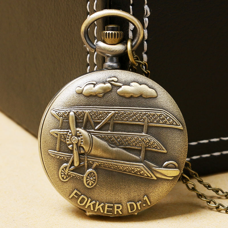 Vintage 3D Airplane Design Bronze Quartz Pendant Fob Pocket Watch With Necklace Chain Free Shipping Gift For Men Women bronze quartz pocket watch old antique superman design high quality with necklace chain for gift item free shipping
