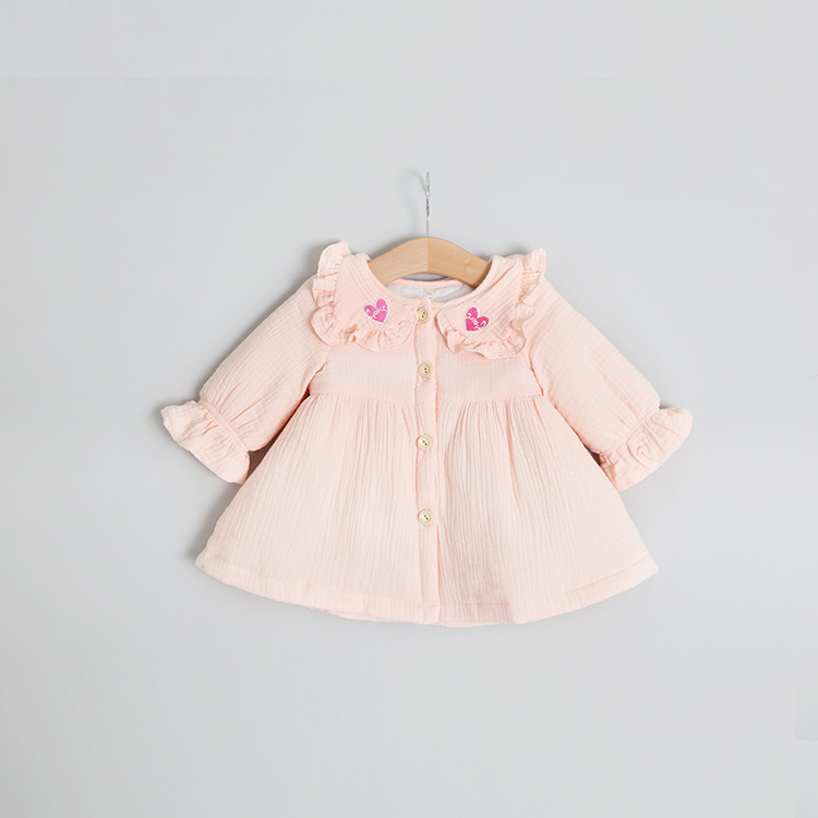 autumn winter 2017 new girls dress lovely Lotus leaf collar infant dress solid long sleeve baby clothes vestido infantil menina