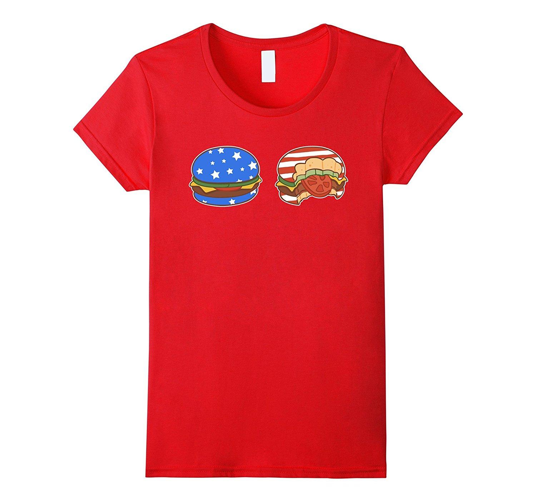 GILDAN Hamburger T-Shirt Women's American Flag Design T Shirt Cute Cartoon Tops Female Cotton Casual T-Shirt Sexy Tops Tee