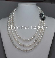 Genuine 3lines 8 9mm Freshwater Cultured Pearl Necklace Mother Of Pearl Flower Clasp