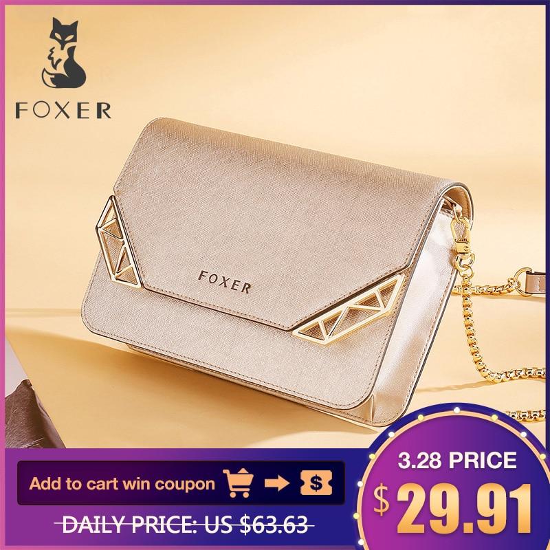 FOXER Brand Femeie de vacă piele Crossbody Bag Mici de sex feminin moda sac de umăr Mini Cellphone Messenger sacoșe pentru Fata