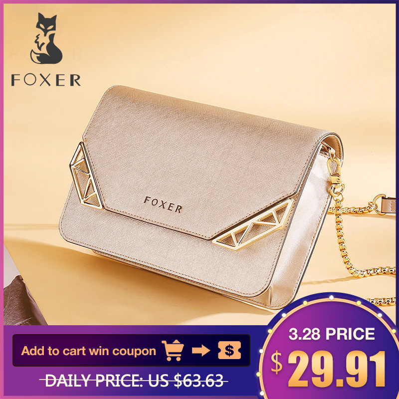 FOXER Brand Women Cow Leather Crossbody Bag Kecil Perempuan Fesyen Bahu Beg Mini Messenger Mobile Bags untuk Girl
