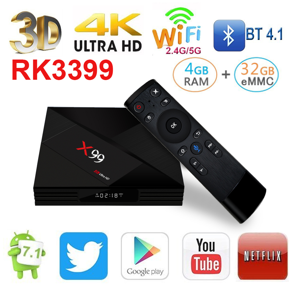 4 ГБ/32 ГБ X99 Smart Android ТВ Box Rockchip RK3399 с голосовым дистанционным 2,4 г/5 г Wi Fi USB3.0 4 К 60fps потокового ТВ Box Media Player