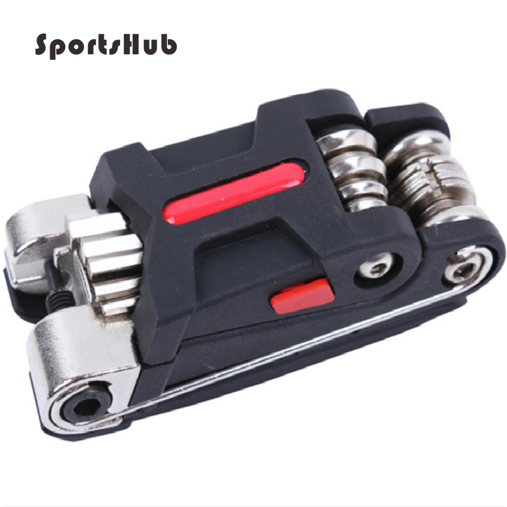 SPORTSHUB 9.5 * 3.8 * 3.8CM 15 In 1 Bike Portable Multifunksionale Biçikletash Vegla për Riparimin e Biçikletave Aliazh çeliku / Advanced ABS C0022