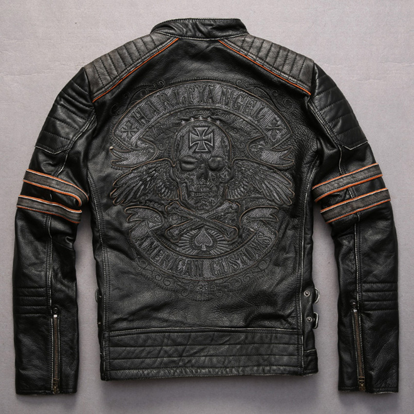 d60b44ddde4 Embroidery skulls pattern vintage cowhide motorcycle jacket Punk style  adjustable waist contrast color sleeve leather jacket