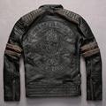 Вышивка черепа шаблон старинные коровьей мотоцикла Панк стиль регулируемый пояс контрастного цвета рукав кожаной куртки мужчины
