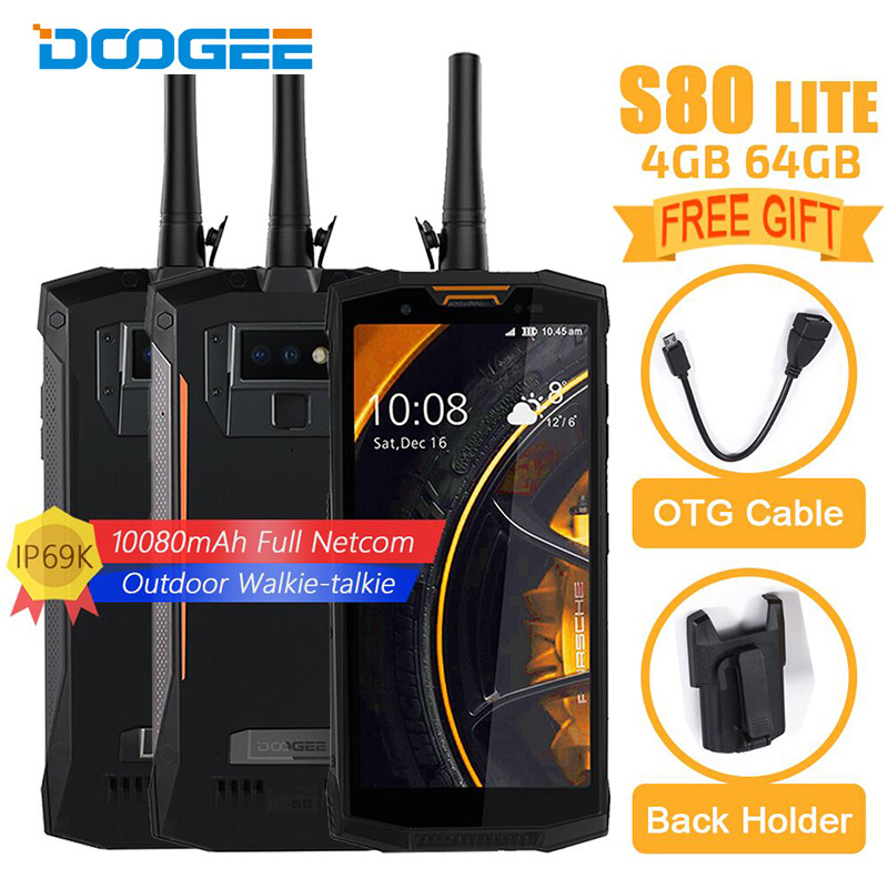 DOOGEE S80 Lite 4G LTE Smartphone Android 8.1 talkie-walkie NFC 10080 mAh 5.99 FHD P23 Octa Core 4 GB 64 GB téléphone portable étanche