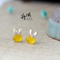 Lapin de dessin animé rétro naturel jaune calcédoine semi-précieux pierres 925 Sterling Argent mignon Vintage Boucles D'oreilles mignon