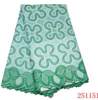 African Swiss Voile Lace High Quality 100 Cotton Lace Fabric With Stones For Sewing Material