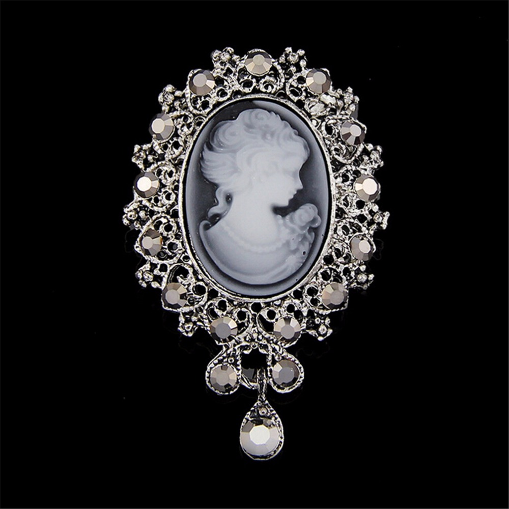 Vintage Cameo Victorian Style crystal Wedding Party Women Pendant Brooch PinIOU