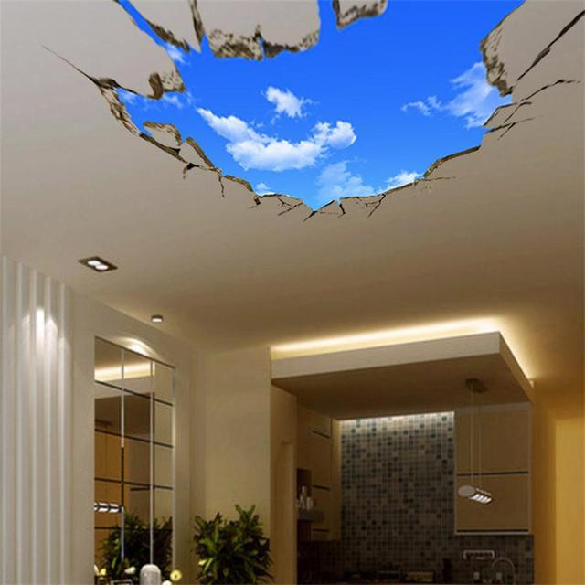 3D Blue Sky White Clouds Wall Sticker For Kids Baby Room Ceiling Roof Art Mural Home Decor Self-adhesive Floor Wall Decor Poster