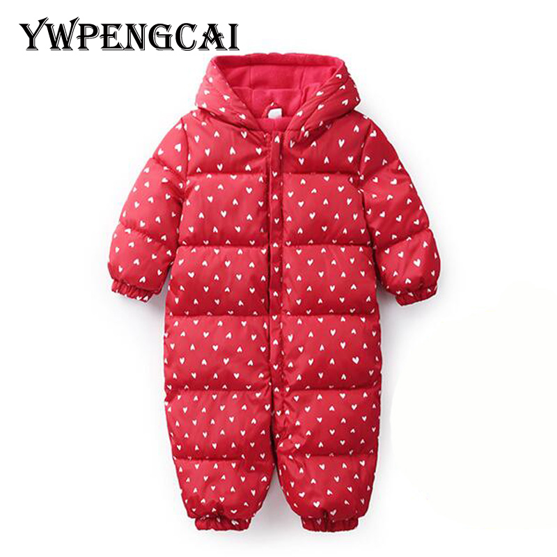 YWPENGCAI Autumn Winter Baby Clothes Zipper   Romper   With Hat 0-24 Months Baby Girl Thick Cotton Warm   Rompers   #8H270190
