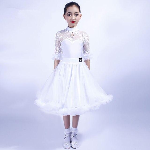 ガールズラテンダンスドレストップス + スカート社交ダンスドレス子供子タンゴダンス衣装ステージパフォーマンス