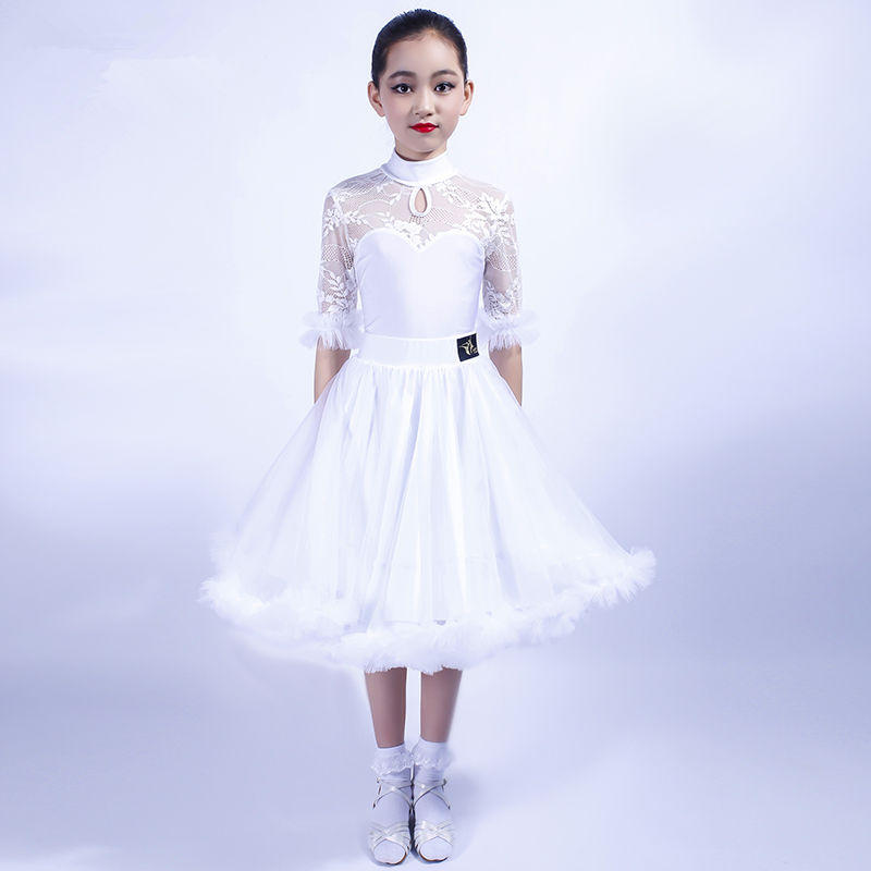 Girls Latin Dance Dress Tops + Skirt Ballroom Dance Dress for Kids Dancewear Child Tango Samba Dance Costumes Stage Performance-in Latin from Novelty & Special Use
