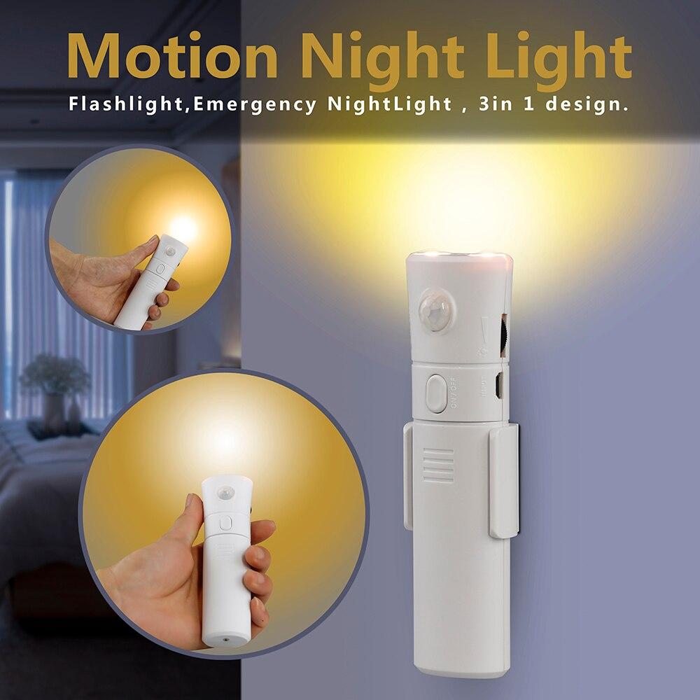 3-in-1 Bewegungsmelder Nachtlicht Wiederaufladbare Taschenlampe ...