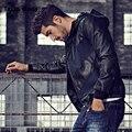 2017 Весна Мужская Мода Куртки Пу Кожа Лоскутное С Капюшоном Черный Бренд Одежда мужская Slim Fit Искусственного Меха Мужчины Мотоциклов пальто