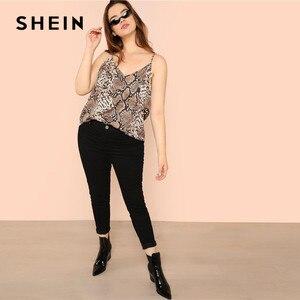 Image 4 - SHEIN Plus Größe Schlange Haut High Street Frauen Camis Ärmel Spaghetti Strap Tops