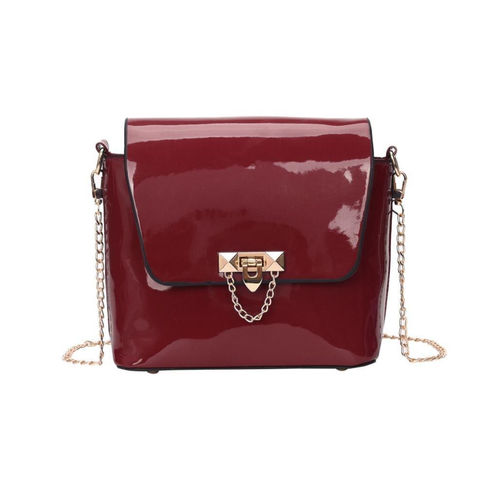 New Arrival Women Girl Fashion Solid Crossbody Bag Ladies Patent Leather Chains Padlock Crossbody Shoulder Bag bolsa feminina S