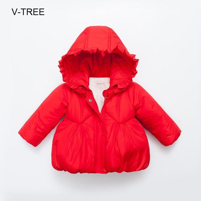 Детская одежда зимняя куртка Девушка твердых моды пальто Детские зимние пальто для девочек Девушки толстые непромокаемые пальто
