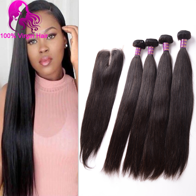 Peruvian Virgin Hair With Closure 7A Peruvian Hair 4 Bundles Human Hair With Closure Peruvian Straight Virgin Hair With Closure