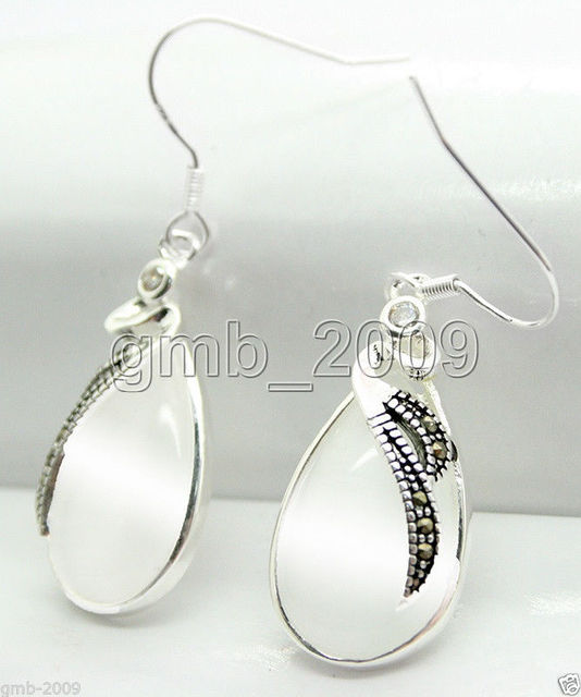 Latest Fashion 15 26mm Clear White Opal 925 Sterling Silver Marcasite Earrings