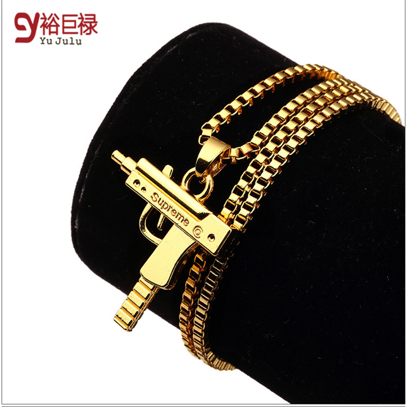 Hot sale gold chain hip hop long necklace men women fashion hot sale gold chain hip hop long necklace men women fashion supreme pistol jewelry engraved letter gun necklace 2016 hiphop in pendants from jewelry aloadofball Images