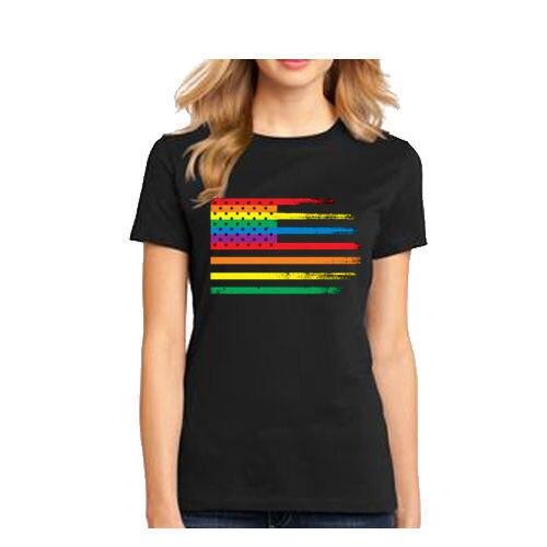 4th of July women s T Shirt Gay Pride parade USA Rainbow Flag tee Women  T-Shirt Kawaii Tops Tee Women Novelty Tops Tees 7aaf3d4b60