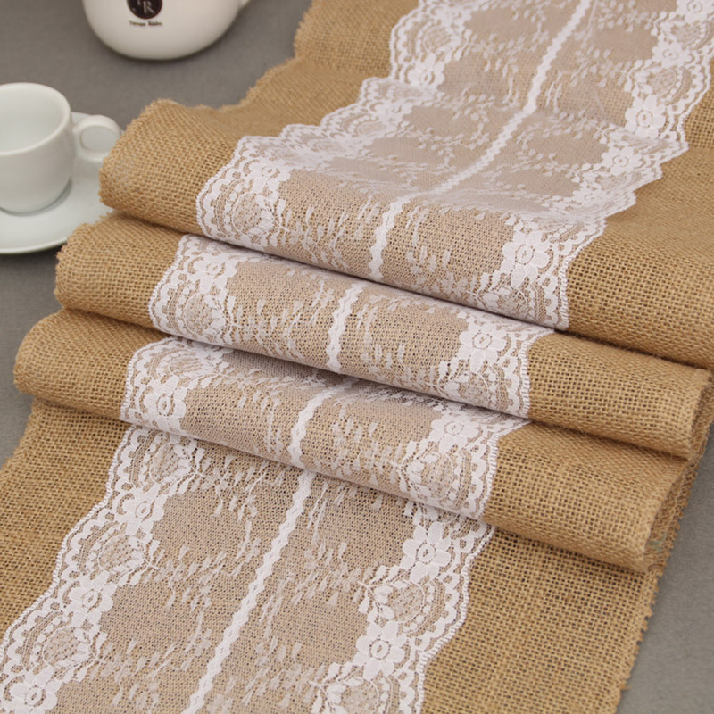 Jute Table Runner Burlap Lace Runner Wedding Table Runner Wedding Decor Shabby Chic Lace floral Christmas Decoration 30x275cm