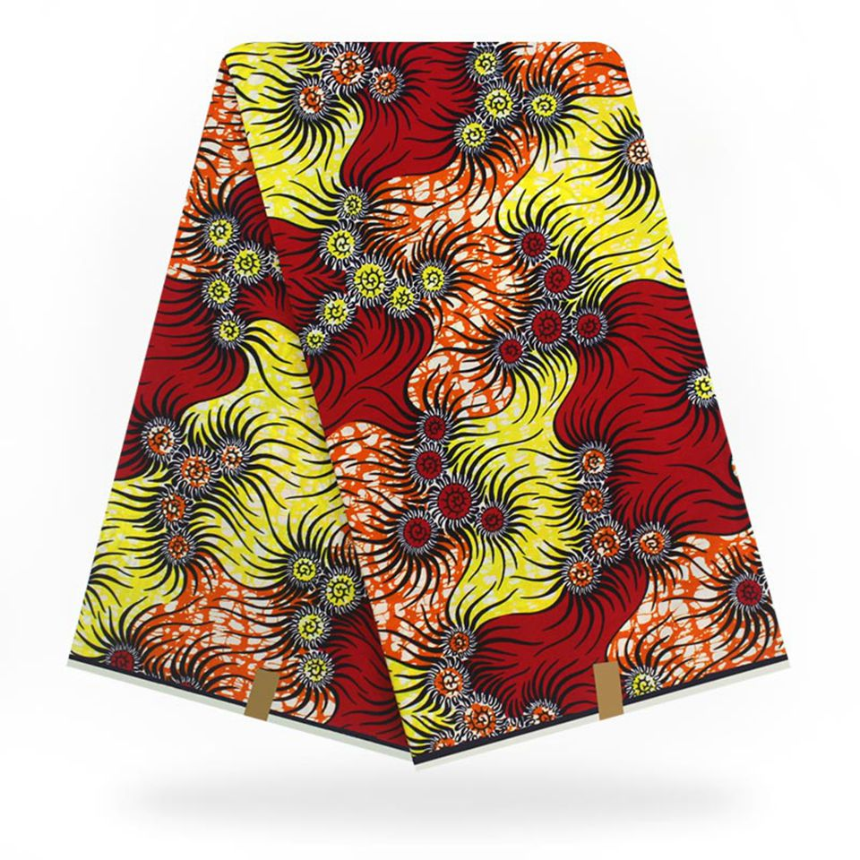 Red&Yellow Plaid Ethnic African Wax Print Ankara Fabrics /Kitenge/Pagnes For Dress 6 Yards YBGSW-63
