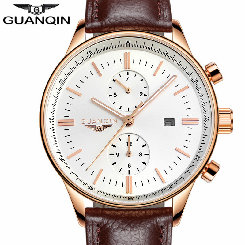 ФОТО Mens Watches Top Brand Luxury GUANQIN Fashion Men Sport Casual Quartz Watch Male Waterproof Leather Wristwatch relogio masculino