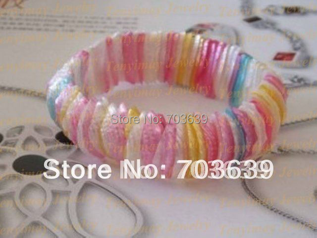 Wholesale colorful stretchy shell bracelets free shipping