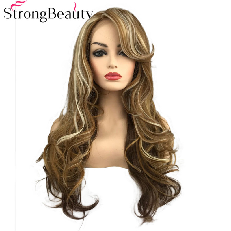 StrongBeauty Synthetic Wig Lace Front Wigs Long Wavy Wig Yellow Gold with Hightlight Blonde Natural Women