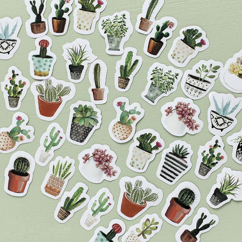 Купить с кэшбэком 45pcs/pack Kawaii green plant cactus Stickers Cute Diary Decoration Scrapbooking DIY seal Sticker Stationery Free shipping