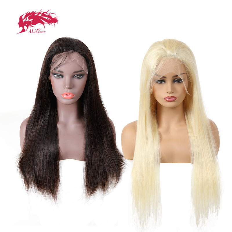 Ali Queen Hair Virgin Brazilian Straight Full Lace Wig 150% Density Natural Color&Blonde 613 Color Straight Hair Human Hair Wigs(China)
