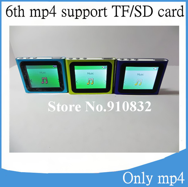 1.8 inch 6th gen clip mp3 mp4 Music player Support Micro SD TF Card max 16GB, FM Radio Video E-Book Games, 200pcs (only mp4)