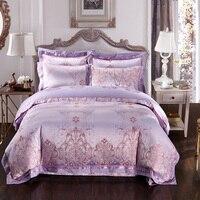 Bordado colcha de cetim de seda Jacquard conjuntos de cama de algodão Egípcio de luxo cobre flor roxa propagação da cama queen size rei 4/5 pc