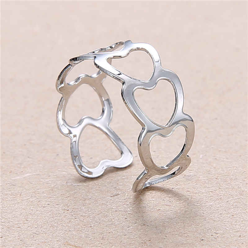 2019 New Fashion Silver Hollow Heart-Shaped Opening Ring  For Women Punk Alloy Finger Rings Simple Boho Jewelry