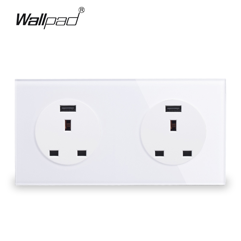 Wallpad UK BS Twin 13A Plug Wall Socket Power Outlet With Double 2.1A USB Charging Ports, White Tempered Glass Panel 172*86mm 146 double 13a uk switched socket wallpad crystal glass panel 110v 250v 146 86mm uk standard wall socket plug power outlet