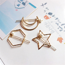 1 Pieces Simple Personality Headdress Pearl Hair Pins Fashion Geometry Female Side Clip Popular Metal Clips Free Shipping